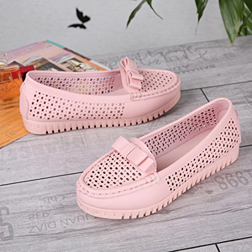 Jamicy Summer Fashion Bowknot Design Hollow Leather Summer Flats Casual Shoes Pink BMMBby5qP