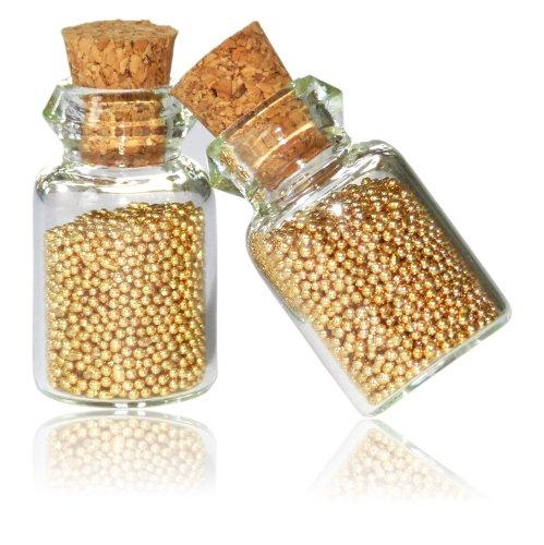 2 Fläschchen Nailart Micro-Perlen Mini-Perlen in gold