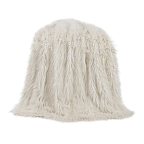 HiEnd Accents Mongolian Faux Fur Throw, 50X60 White by HiEnd Accents