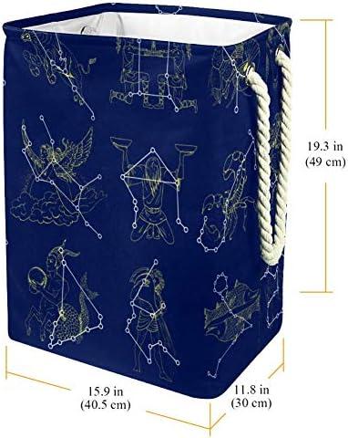NOBRAND Panier à linge avec poignées pour paniers de rangement à linge Doublure intégrée avec supports détachables, panier à linge pliable et symboles du zodiaque