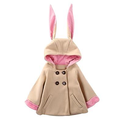 WuyiMC Hood Hoodie, Baby Girl's Toddler Kids Fall Winter Coat Jacket Long Ears Outerwear