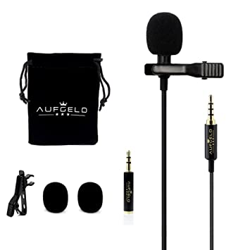 Professional Best Small Mini Lavalier Lapel Lav Condenser Microphone for  Apple iPhone Android Windows Smartphones Clip On Interview Youtube Video