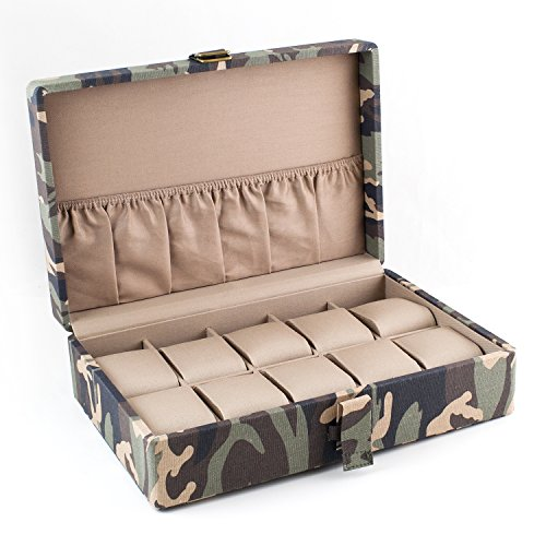 Caddy Bay Collection Camo Watch Box with Double D Buckle Holds 10 Watches Tan Interior