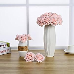 Breeze Talk Artificial Flowers Blush Roses 25pcs Realistic Fake Roses w/Stem for DIY Wedding Bouquets Centerpieces Arrangements Party Baby Shower Home Decorations (25pcs Blush) 5