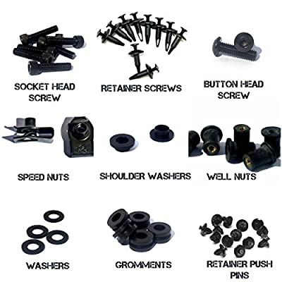 Black Complete Motorcycle Fairing Bolt Kit For Kawasaki Ninja ZX-6R / ZX636 2007-2008 Body Screws, Fasteners, and Hardware: Automotive