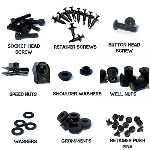 Black Complete Motorcycle Fairing Bolt Kit Honda CBR600RR 2003 - 2004 Body Screws, Fasteners, and Hardware by Bike Boltz (Image #3)