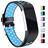 For Fitbit Charge 2 Band - Hotodeal Classic Soft TPU Adjustable Replacement Bands Fitness Sport Strap for Fitbit Charge 2 - Small Large - Black Blue