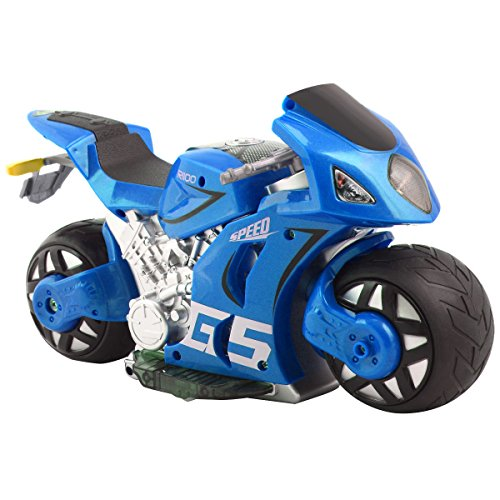 Costzon 1/8 Scale 2.4G 4D R/C Simulation Remote Control Drift Motorcycle Kids Toys Blue