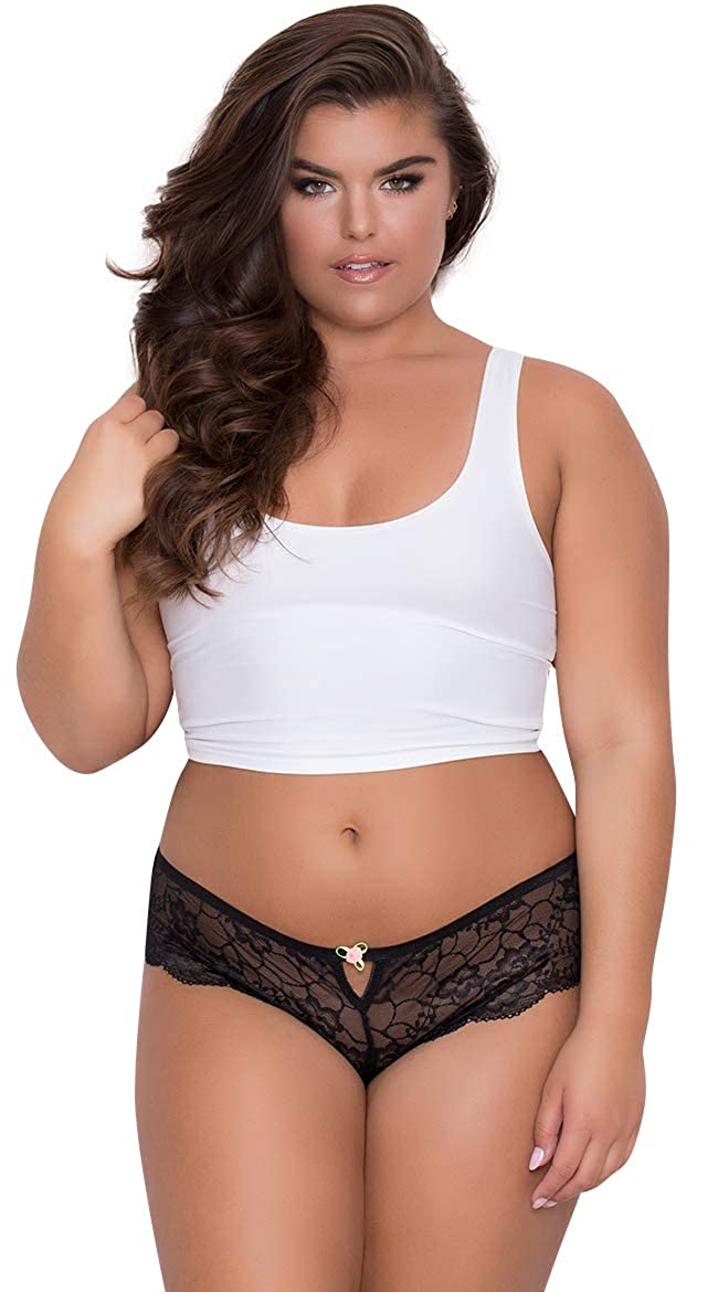 2171fdec32627c Amazon.com: Yandy Sexy Womens Plus Size Floral Soft Lace Thong Panty  Featuring A Keyhole: Clothing