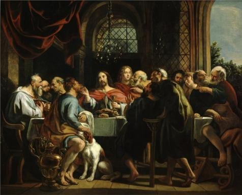 'Jacob Jordaens I - The Last Supper,1655' Oil Painting, 24x30 Inch / 61x75 Cm ,printed On Perfect Effect Canvas ,this Best Price Art Decorative Prints On Canvas Is Perfectly Suitalbe For Bedroom Artwork And Home Gallery Art And Gifts (Scene 75 Prices)