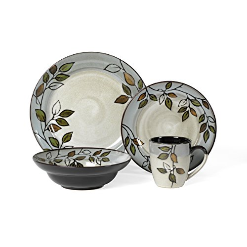 Pfaltzgraff Rustic Leaves 16-Piece Stoneware Dinnerware Set, Service for 4