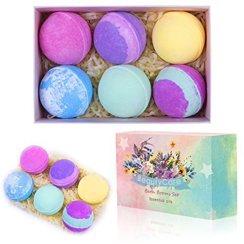Beauty Care Bath Bombs Gift Set Huge 5Oz Bath Bombs, Spa Vegan Lush Fizzies with Natural Essential Oils, 6 Assorted Bath Bombs