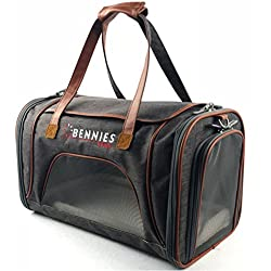 Bennies World Airline Approved Soft Sided Pet Carrier Travel Bag - Small Dogs and Cats - Fits under Seat