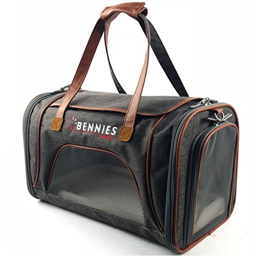 Bennies World Airline Approved Pet Carrier - Soft Sided Travel Kennel for Small Dogs and Cats - Bag Fits under the (Dog Spot Pet Kennels)