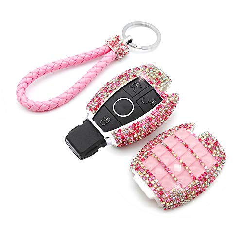 Silver etc YIKA Benz Diamond Key Shell Car Key Case Cover Holder Pouch Remote Key Chains Key Bag for Mercedes-Benz C E S M CLS CLK GLK GL Class