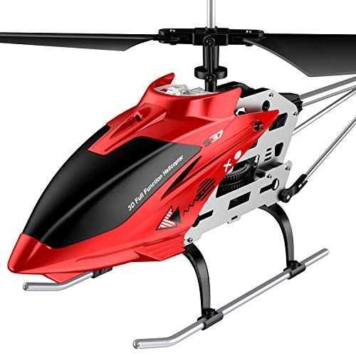 RC Helicopter, S37 Aircraft with Altitude Hold,3.5 Channel, Sturdy Alloy Material, Gyro Stabilizer and High &Low Speed, Multi-Protection Drone for Kids and Beginners to Play Indoor-Red 【Biggest Size】