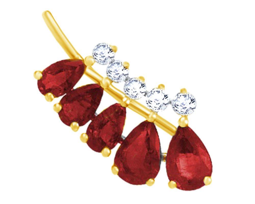 Simulated Garnet with Diamond Accent Single Earring in 14K Solid Yellow Gold