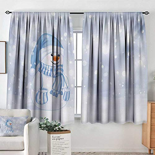 Elliot Dorothy Blackout Curtains Winter,Kids Toddler Design Happy Snowman Cartoon Style Figure Merry Christmas Theme,Pale Blue White,for Bedroom&Kitchen&Living Room 63