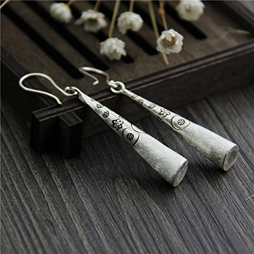 Handmade Sterling Silver Cylinder Earrings with Hand Stamped Flowers, Karen Hill Tribe Silver Earrings,Gift for her -