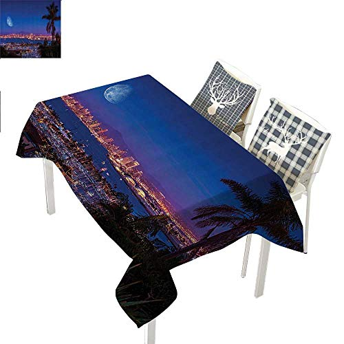 WilliamsDecor Apartment Decor Collection tablecloths for Kids San Diego California Night with Large Moon on The Horizon Yachts Panorama PictureNavy Blue Ivory Rectangle Tablecloth W60 xL102 -