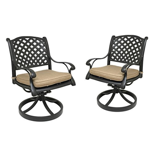 Table & Chair Designs  Nevada Cast Aluminum Patio Swivel Rocking Chairs with Sunbrella Premium Cushions (Set of 2, (Cast Aluminum Rocking Chair)