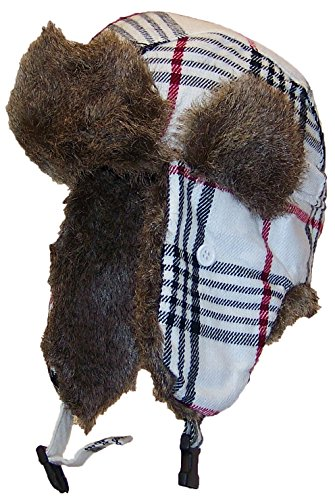 Best Winter Hats Adult Plaid Russian/Trooper W/Soft Faux Fur Cap (One Size) - White