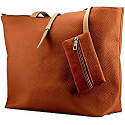 New BryanMarvel Fashion Womens Faux Leather Messenger Handbag Lady Shoulder Bag Totes Purse (Brown)