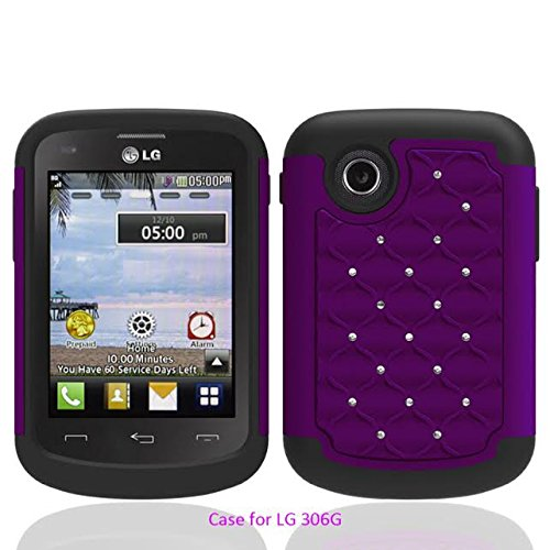 LG 306G 305C Case (Tracfone StraightTalk Net10), Defender Bling Hybrid Gel Protector Diamond Hybrid Cover (PURPLE ON BLACK DIAMOND)