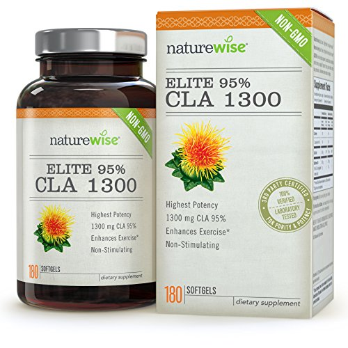 NatureWise Elite 95% CLA 1300mg Maximum Potency, Non-Stimulating Natural Weight Loss Exercise Supplement, Fat Burner for Men and Women, 180 Count