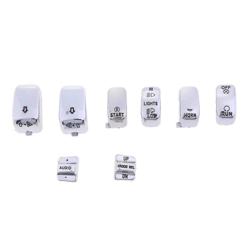 Chrome Baoblaze Set of 8 Hand Control Switch Housing Button Kit for Harley FLHT FLHTC FLHX FLTRX 1996-2013