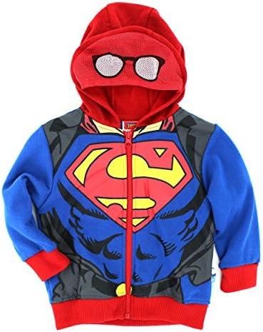 Youth Boys DC Comics Hero Superman Logo Blue Zip Up Costume Hoodie Sweatshirt