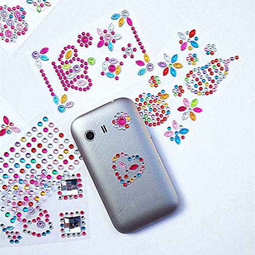 Assorted Size 978Pcs Self-Adhesive Multicolor Rhinestone Sticker Bling Craft Jewels Crystal Gem Stickers 10 Sheets