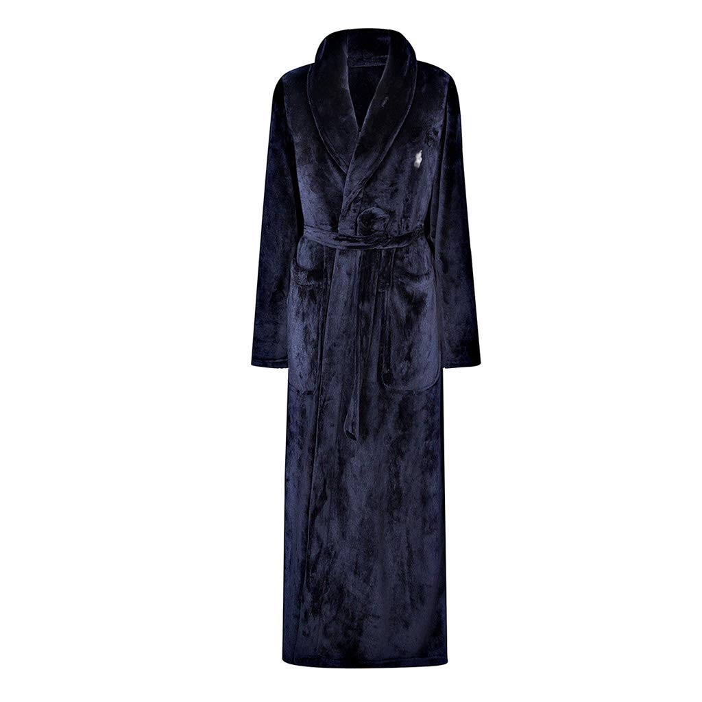Mens Premium Coral Microfleece Plush Spa/Bath Robe (Color : Blue, Size : M) pan