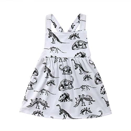 yannzi Baby Girls Dinosaur Dress Clothes Ruffle Sleeve Tutu Skirt Backless Sundress Birthday Party Princess Formal Outfit (6-12 Months, Dinosaur) (Infant Girls Sundress)