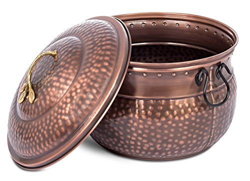 Hose Pot Lid - BirdRock Home Water Hose Holder with Lid | Ground Garden Hose Pot | Decorative | Handle | Embossed | Steel Metal with Copper Accents | Outdoor or Indoor Use