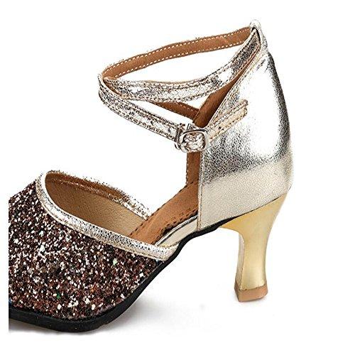 Zapatos De Baile Latino De Hembras Adultas Con El Extremo Blando De Zapatos De Baile Moderno 3,5 cm de oro