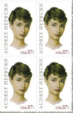 AUDREY HEPBURN ~ LEGENDS OF HOLLYWOOD #3786 Block of 4 x 37¢ US Postage - 37 Block Stores