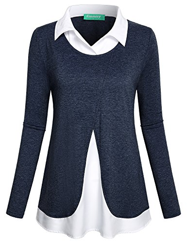 Kimmery Work Blouses for Women, Girls Vintage Classy Long Sleeve Petite Tees Classic Graceful Collar Comfortable Tops Relaxed Fit Loose 2 in 1 Patchwork Business Casual Baselayer Shirts Dark Blue (Classic Petite Blouse)