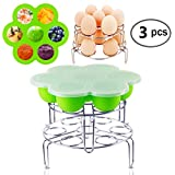 Instant Pot Accessories Silicone Egg Bites Molds with 2 Pcs Stainless Steel Egg Steamer Rack Set for Instant Pot Accessories Reusable Storage Container By Fanuk