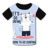 riverccc6.1500 Surfer Tiger Burn to Surfing Youth T-Shirt Boys Girls Tee
