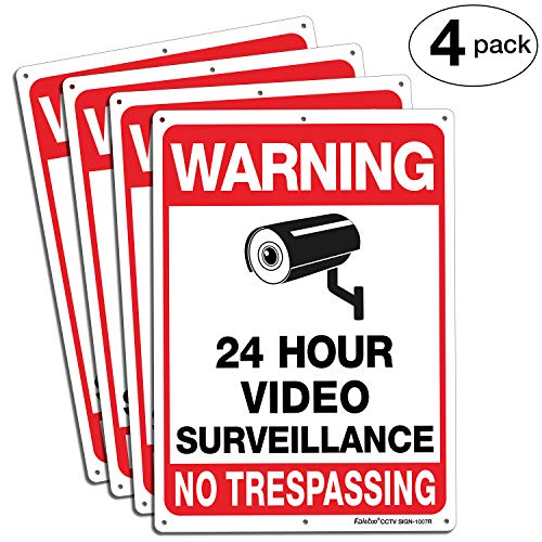 Faittoo 4-Pack Video Surveillance Sign, No Trespassing Metal Reflective Warning Sign, 10