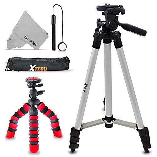 "Xtech Double Tripod Kit with 50"" Inch Tripod + 12"" Flexible Tripod for Nikon Coolpix W300, W100, A900, AW130, AW120, A10, A100, S33, S32, S9900, S7000, S6900, L31, L32, S3700, S2900 by HeroFiber"