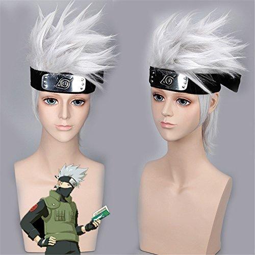 YX Anime Cosplay Wig Men Halloween Wig+A Free Headband 35CM 14INCH(Silver-white) ()
