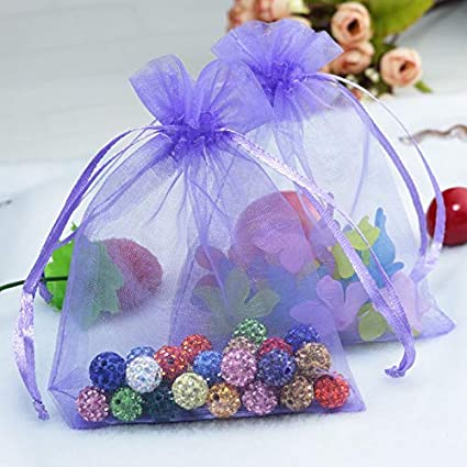 Amazon.com: Laliva 500pcs/lot Purple Organza Bag 5x7cm Mini ...