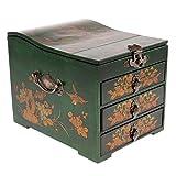 MonkeyJack Vintage Retro Wooden Chest Home Keepsake Decor Woman Make Up Dresser for Jewelry Storage - Green, as described