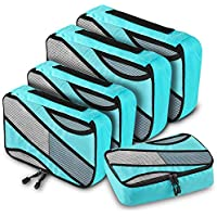 5-Pieces Anrui Packing Cubes Set Travel Packing Organizer with Handle (Blue)