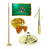 Washington 3ft X 5ft Flag, Flagpole, Base, and Tassel (7 Ft Oak Pole, Army Spear)