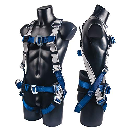 JINGYAT Construction Harness Fall Protection Full Body Safety Harness Tool with 5 D-Rings and Waist Belt,Universal Personal Protective Equipment