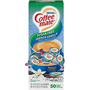 Nestle Coffee mate Coffee Creamer, Sugar Free French Vanilla, Liquid Creamer Singles, Box of 50 Singles