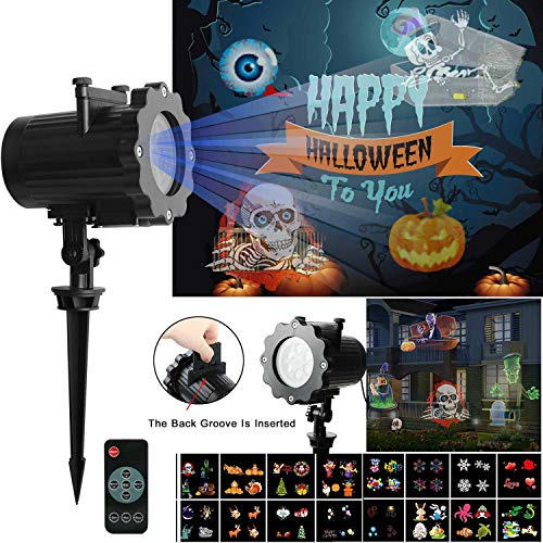 LED Projector Light OKPOW Waterproof Landscape Snowflake Spotlight with 16 Interchangeable Slides for Christmas Halloween Birthday Wedding Party Outdoor Indoor Home Decor